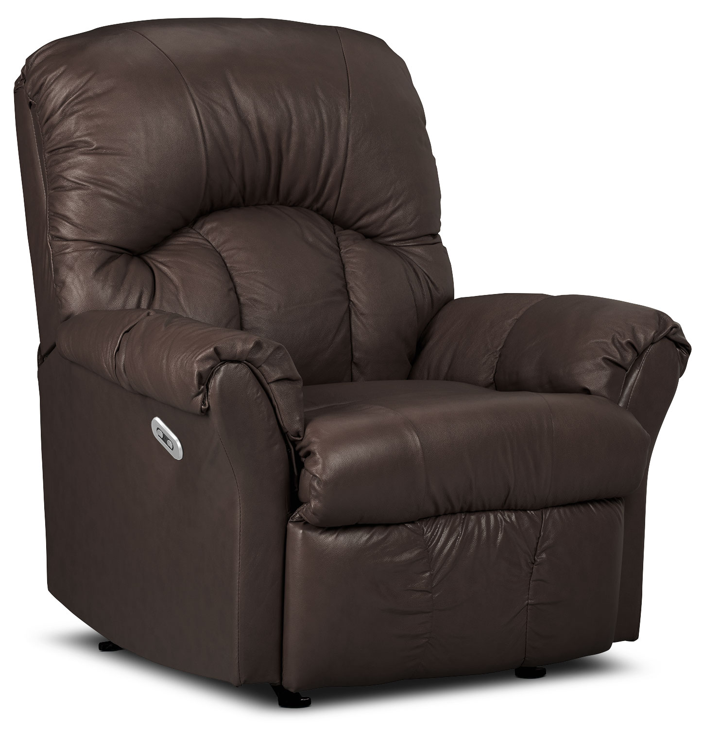 Living Room Furniture - Designed2B Recliner 6734 Bonded Leather Power Recliner Chair - Walnut
