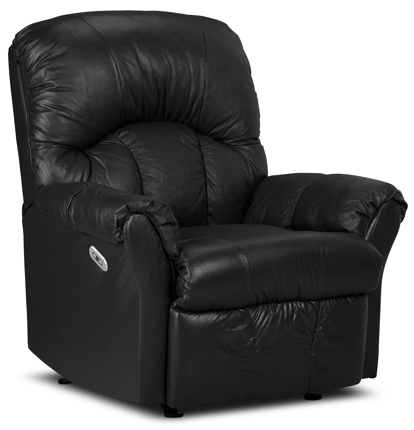 Living Room Furniture - Designed2B Recliner 6734 Genuine Leather Power Recliner Chair - Black