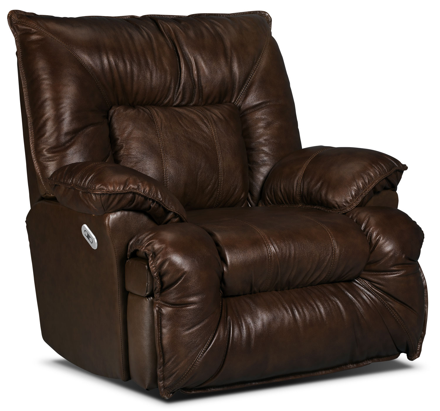 Living Room Furniture - Designed2B Recliner 7726 Genuine Leather Power Lay-Flat Recline Chair - Chocolate