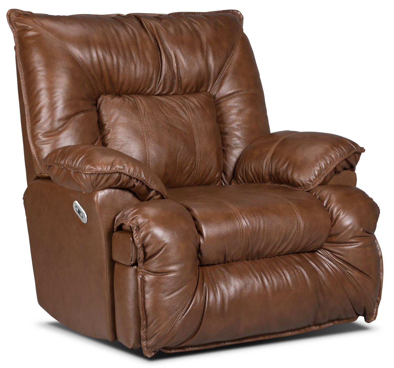 Living Room Furniture - Designed2B Recliner 7726 Genuine Leather Power Lay-Flat Recline Chair - Saddle