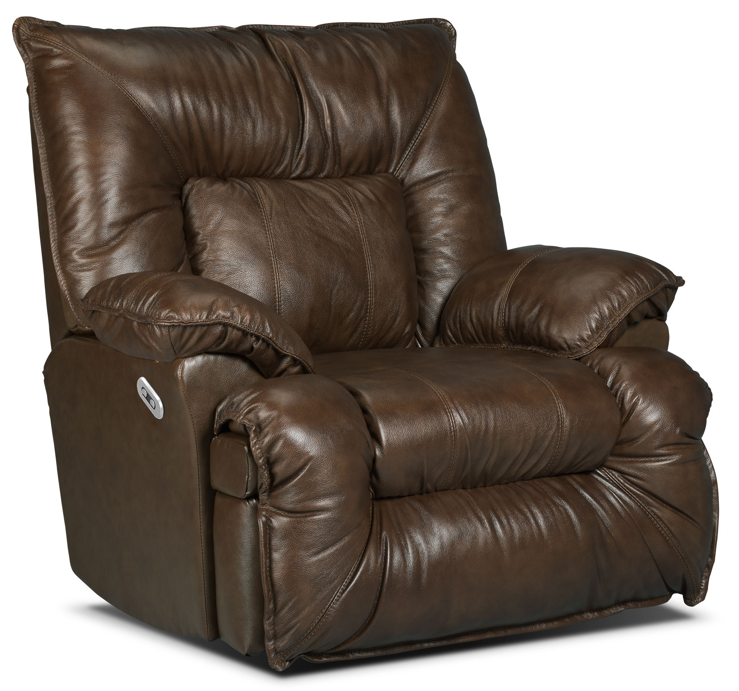 Living Room Furniture - Designed2B Recliner 7726 Leather-Look Fabric Power Lay-Flat Recline Chair - Walnut