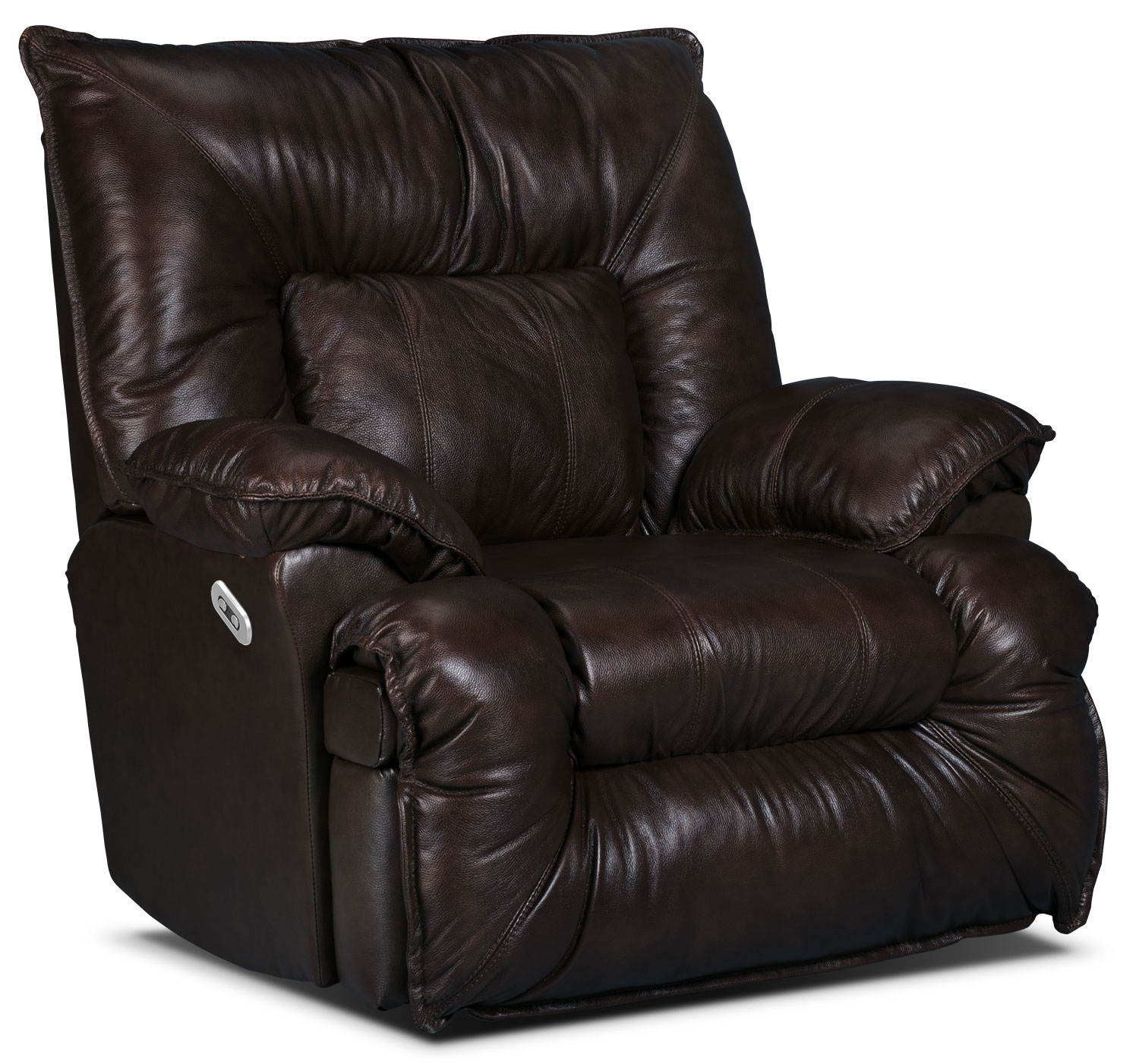 Living Room Furniture - Designed2B Recliner 7726 Leather-Look Fabric Power Lay-Flat Recline Chair - Java