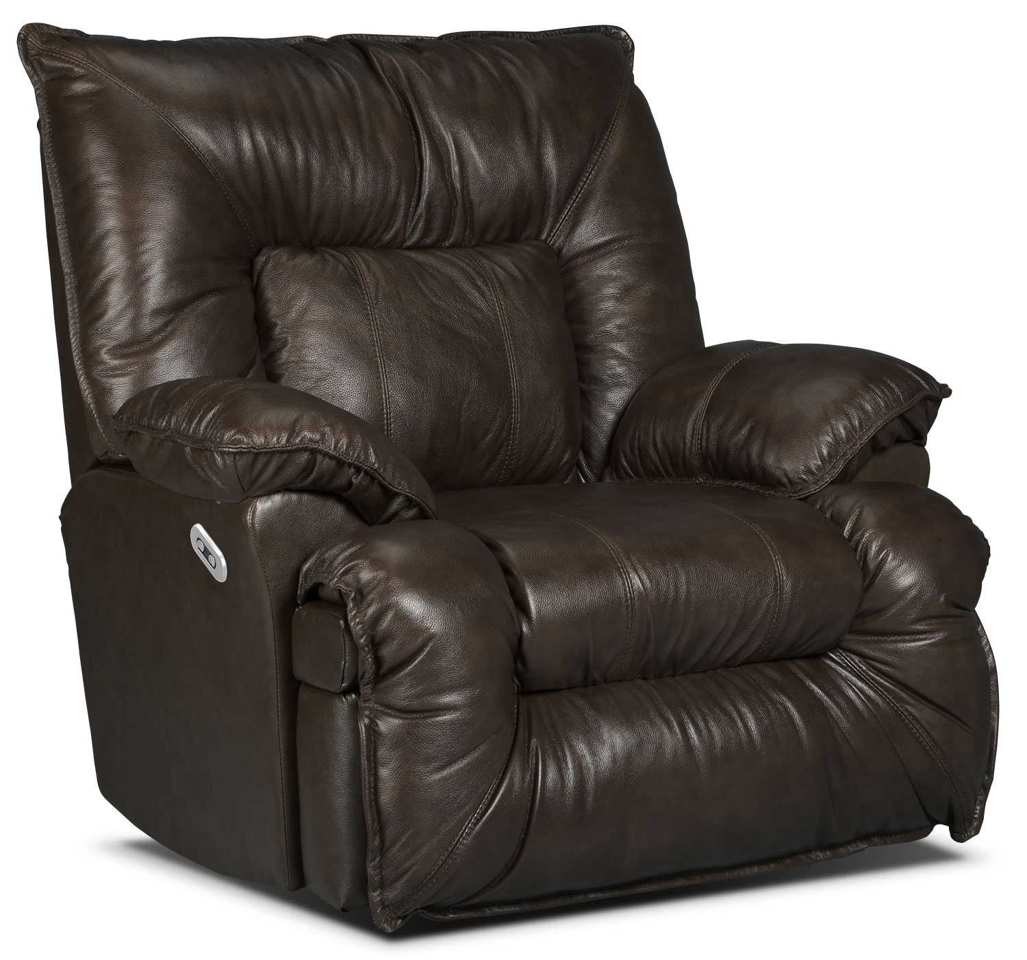 Living Room Furniture - Designed2B Recliner 7726 Leather-Look Fabric Power Lay-Flat Recline Chair - Chocolate