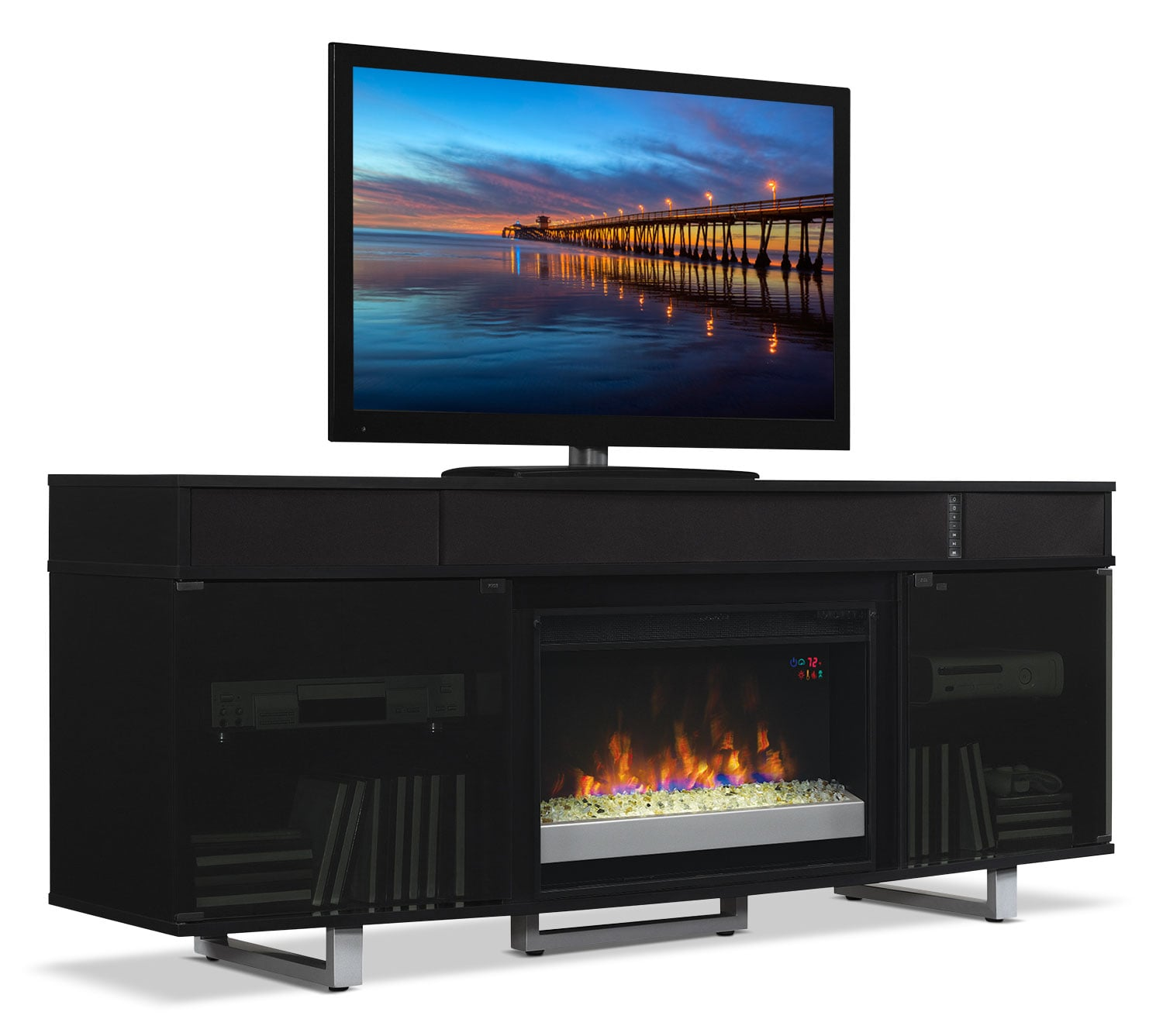 odesos 72 tv stand with glass ember firebox and soundbar black the brick. Black Bedroom Furniture Sets. Home Design Ideas