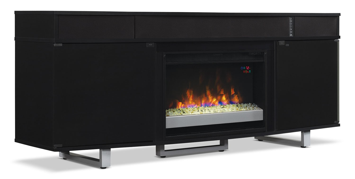 "Odesos 72"" TV Stand with Glass Ember Firebox and Soundbar – Black"