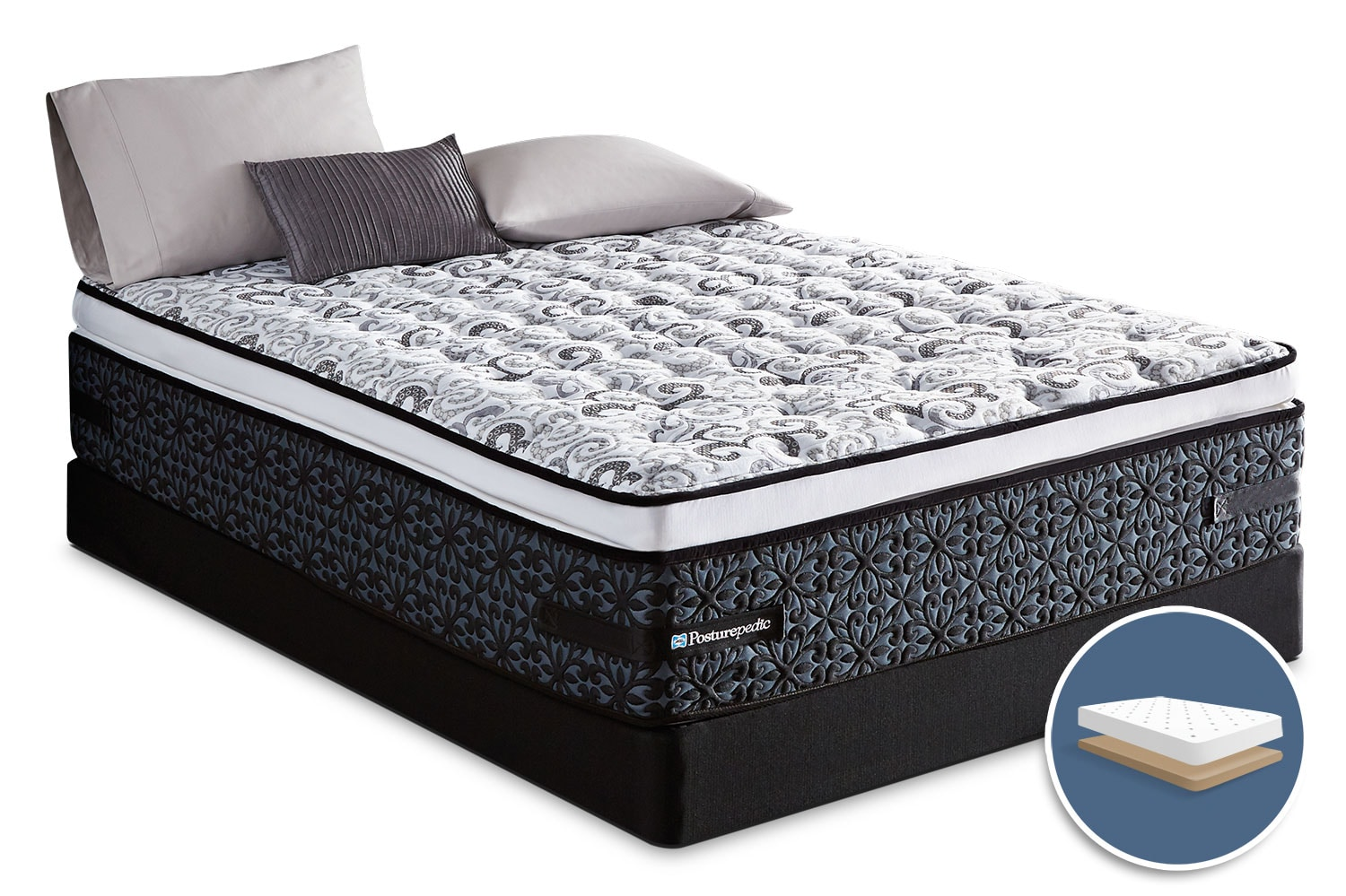 Mattresses and Bedding - Sealy Crown Jewel Luxe Summer Crest Euro Pillow-Top Low-Profile Queen Mattress Set