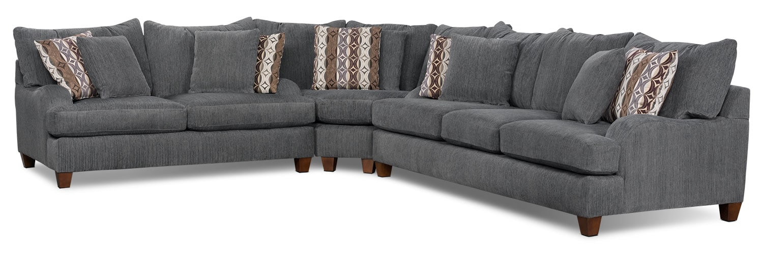 Living Room Furniture - Putty Chenille 3-Piece Sectional - Grey