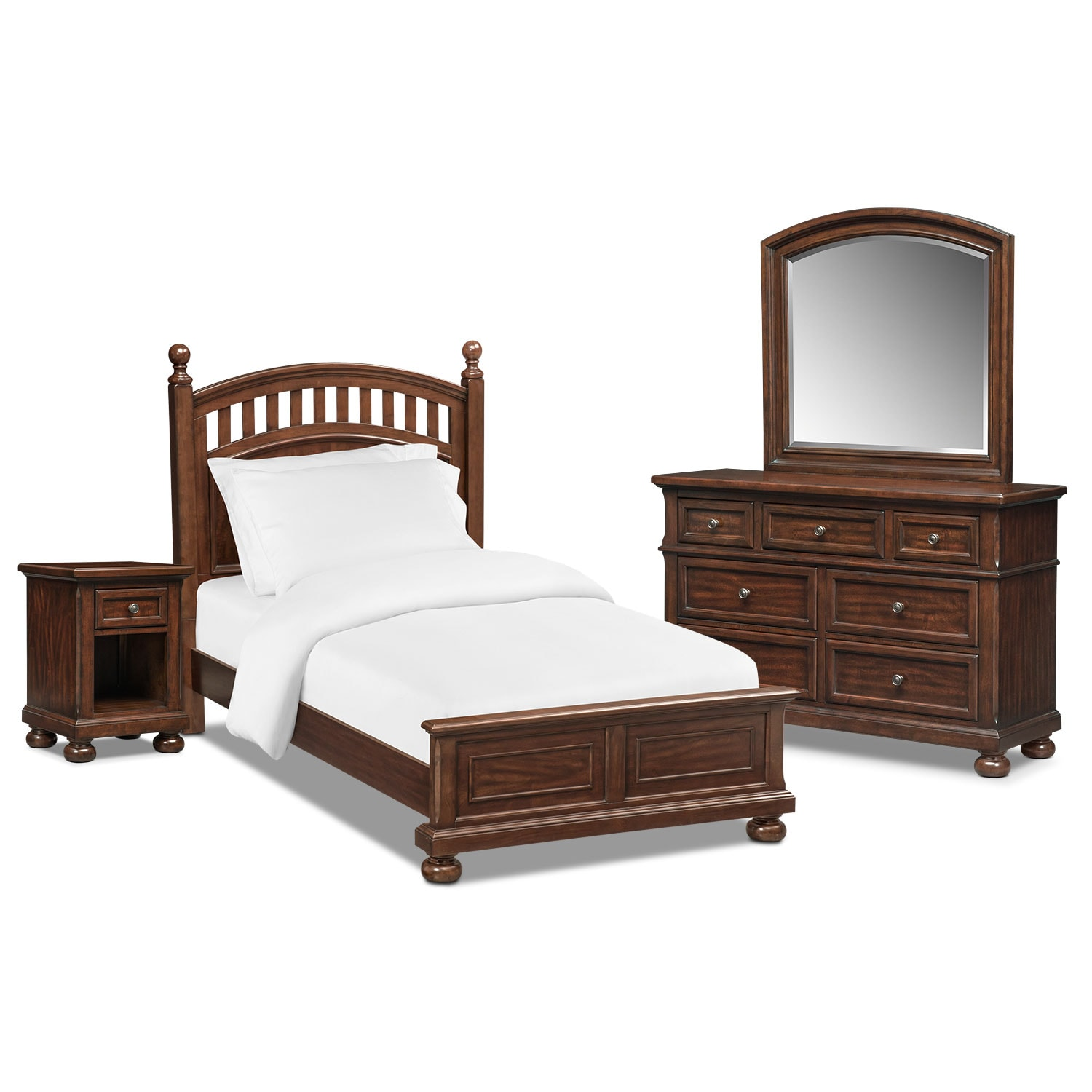 hanover youth 5 piece twin sleigh bedroom set cherry american signature furniture. Black Bedroom Furniture Sets. Home Design Ideas