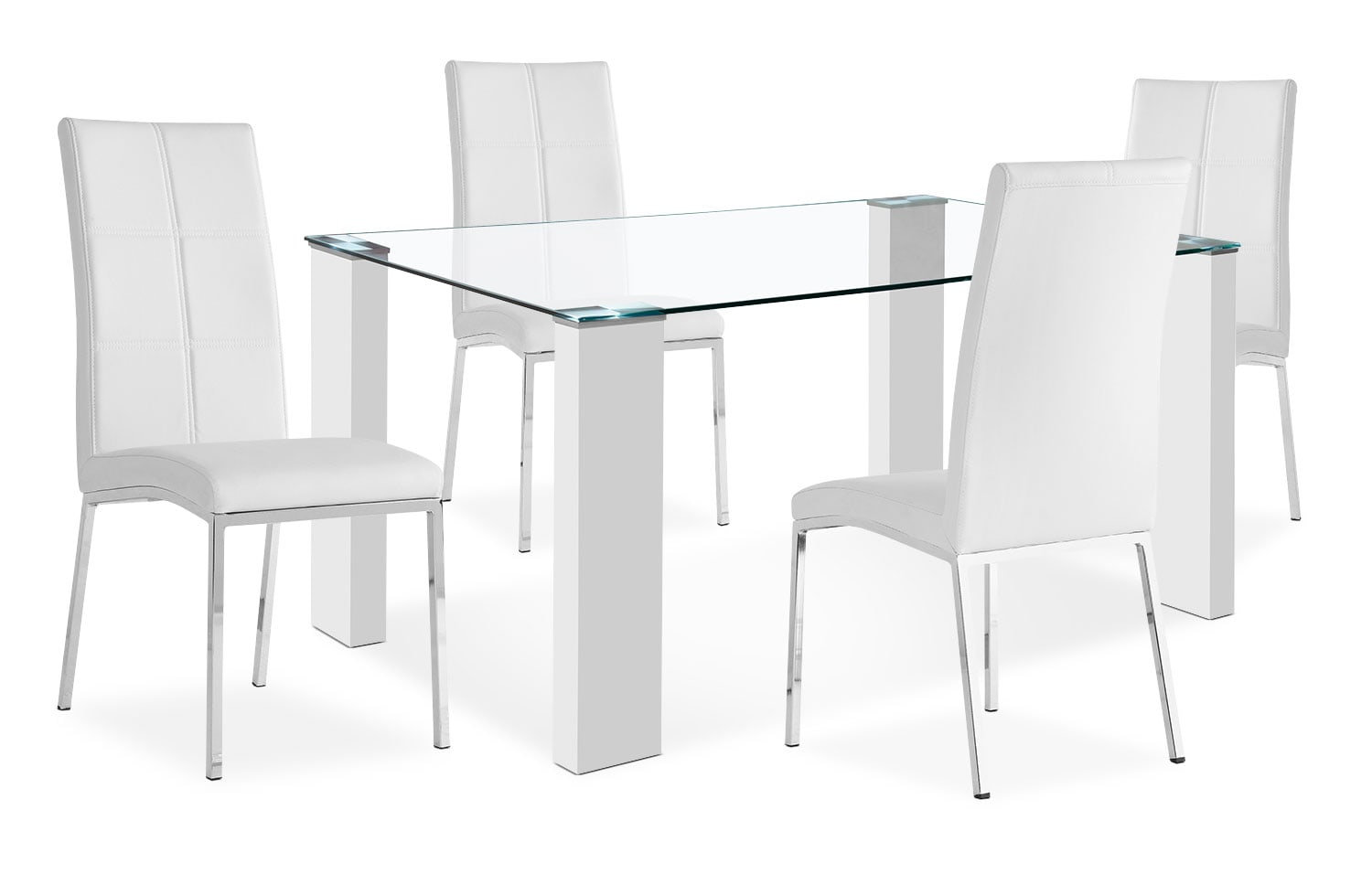 Dining Room Furniture - Milton 5-Piece Dining Package – White