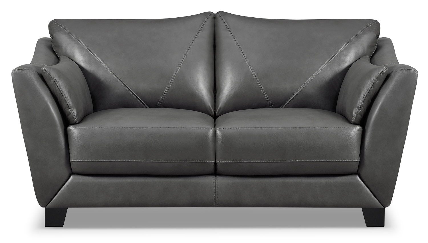 Laken Genuine Leather Loveseat – Grey