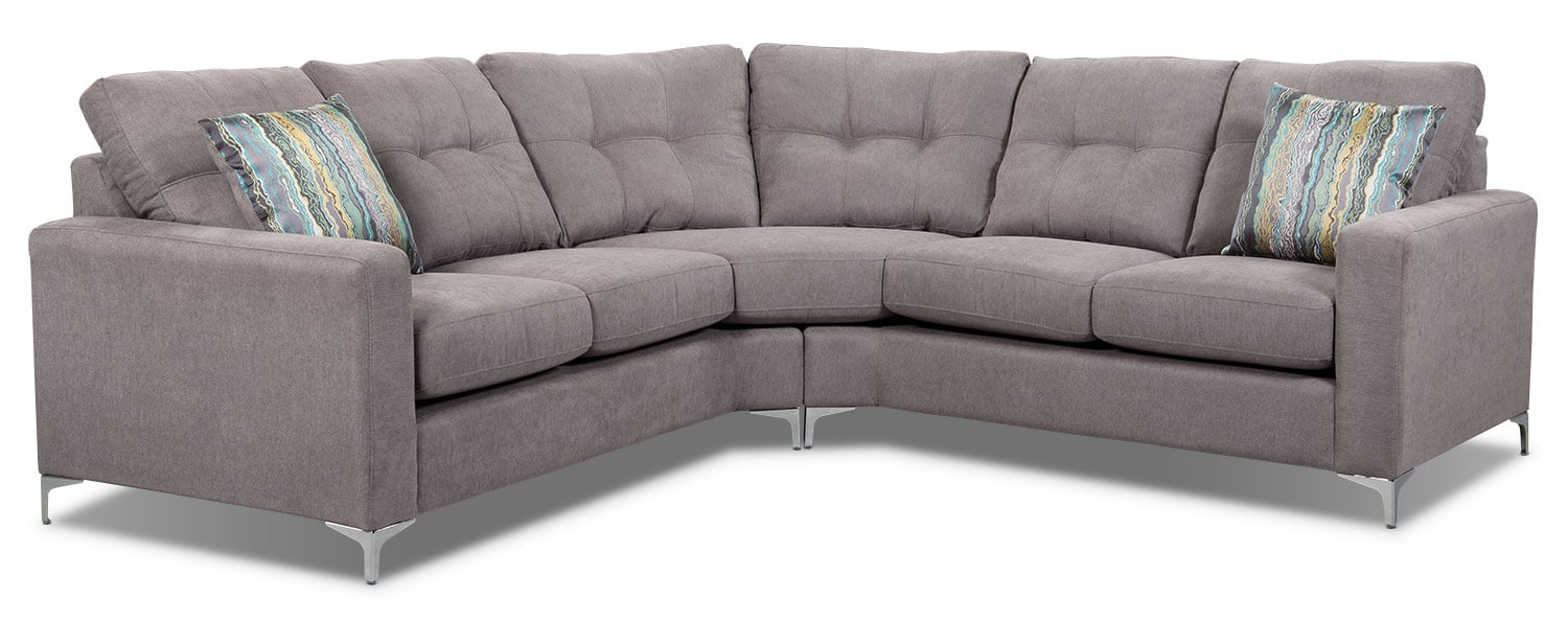 London 2 piece linen look fabric sectional dove the brick for Sectional sofas the brick