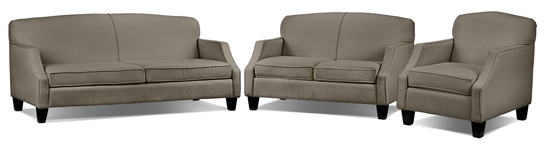 Klein Sofa, Loveseat and Chair Set - Grey