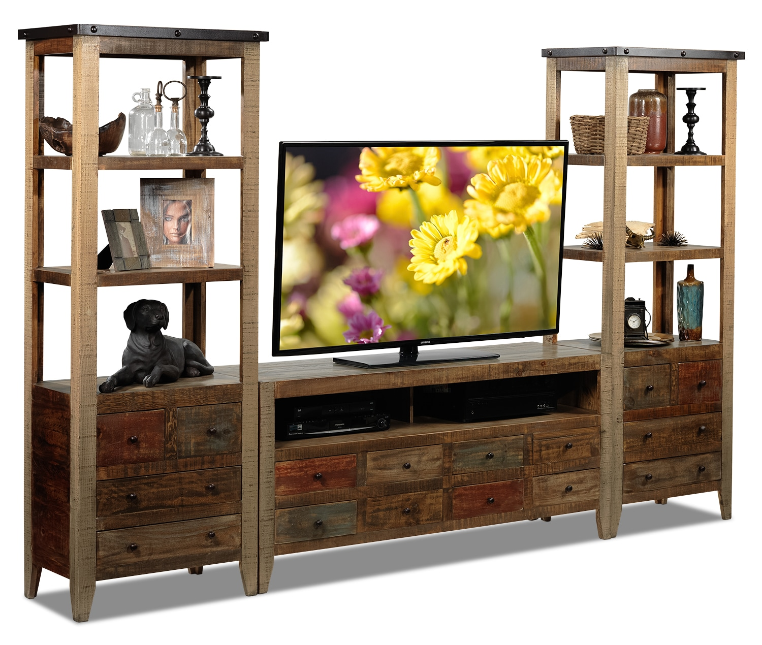 Auckland 3-Piece Entertainment Wall Unit - Rustic Brown