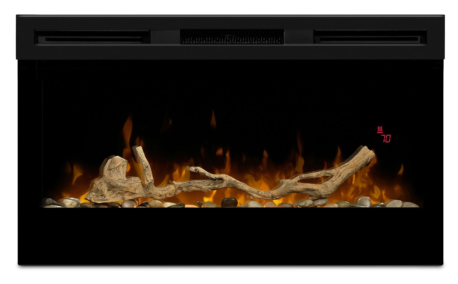 "Accent and Occasional Furniture - Wickson 34"" Wall-Mount Electric Fireplace with Driftwood and River Rock Firebox Kit"