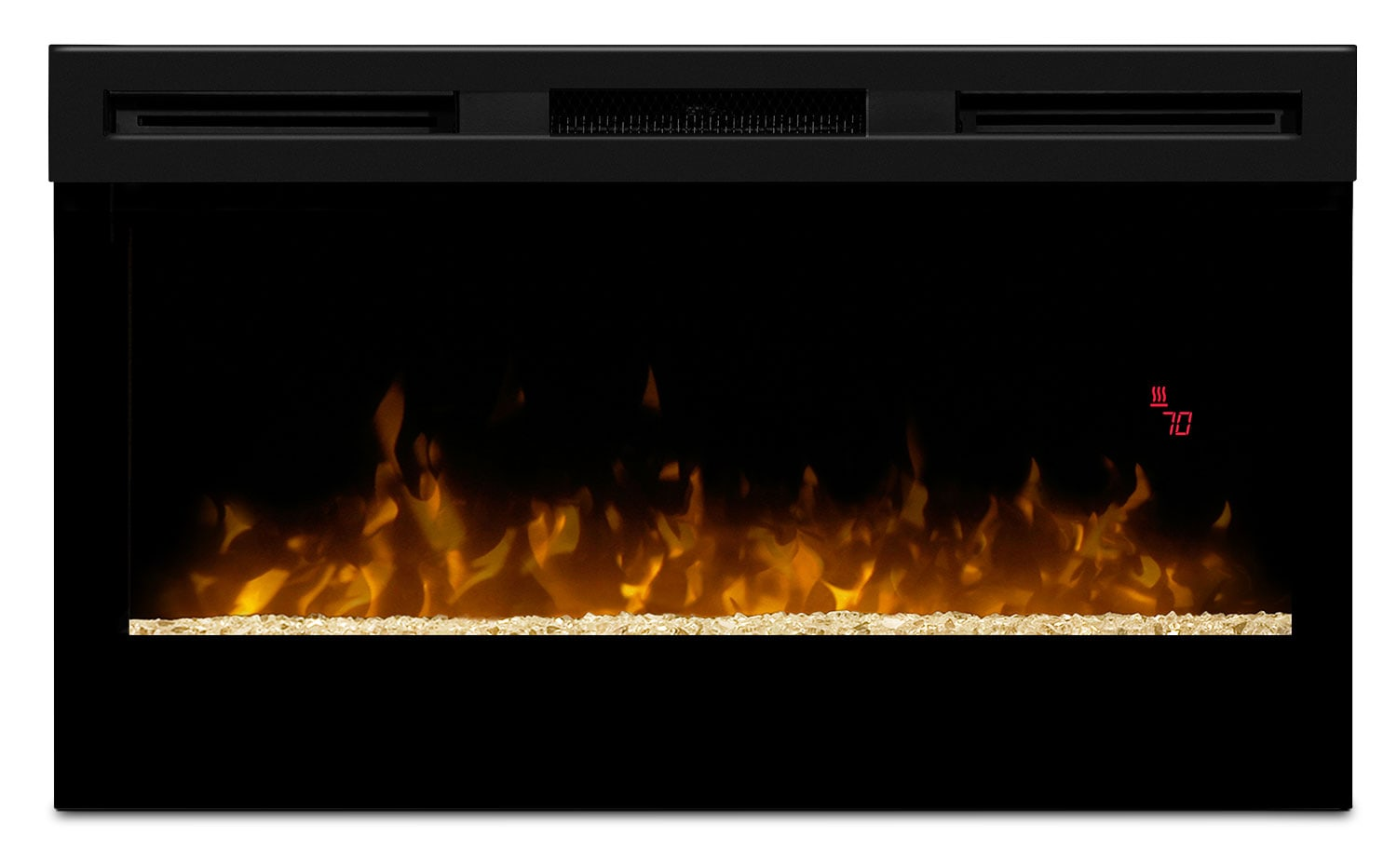 "Wickson 34"" Wall-Mount Electric Fireplace with Glass Ember Firebox"