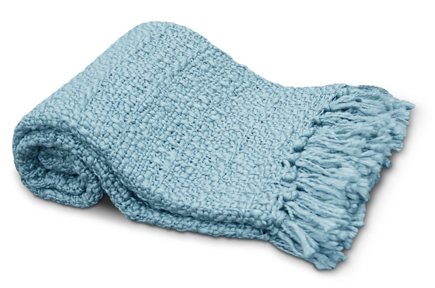 Knit Throw with Fringe – Light Blue