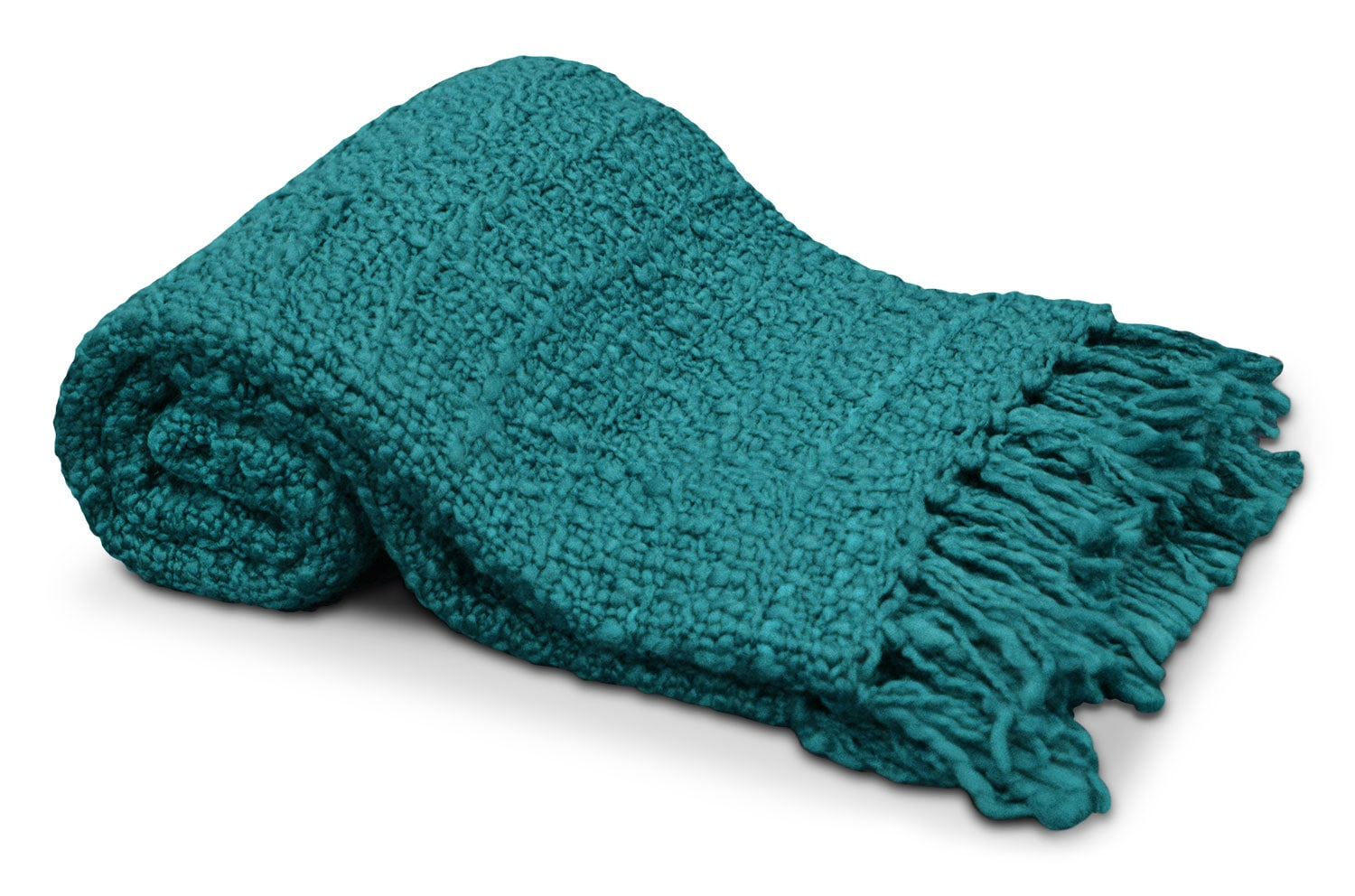 Knit Throw with Tassels – Teal