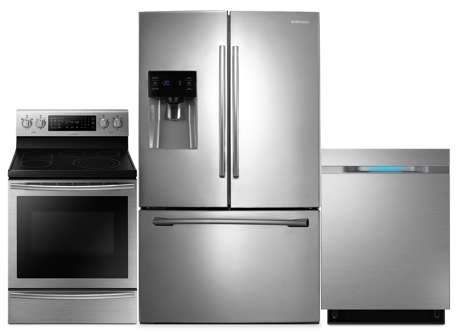 Samsung 26 Cu. Ft. Refrigerator, 5.3 Cu. Ft. Electric Range and Built-In Dishwasher – Stainless Stee