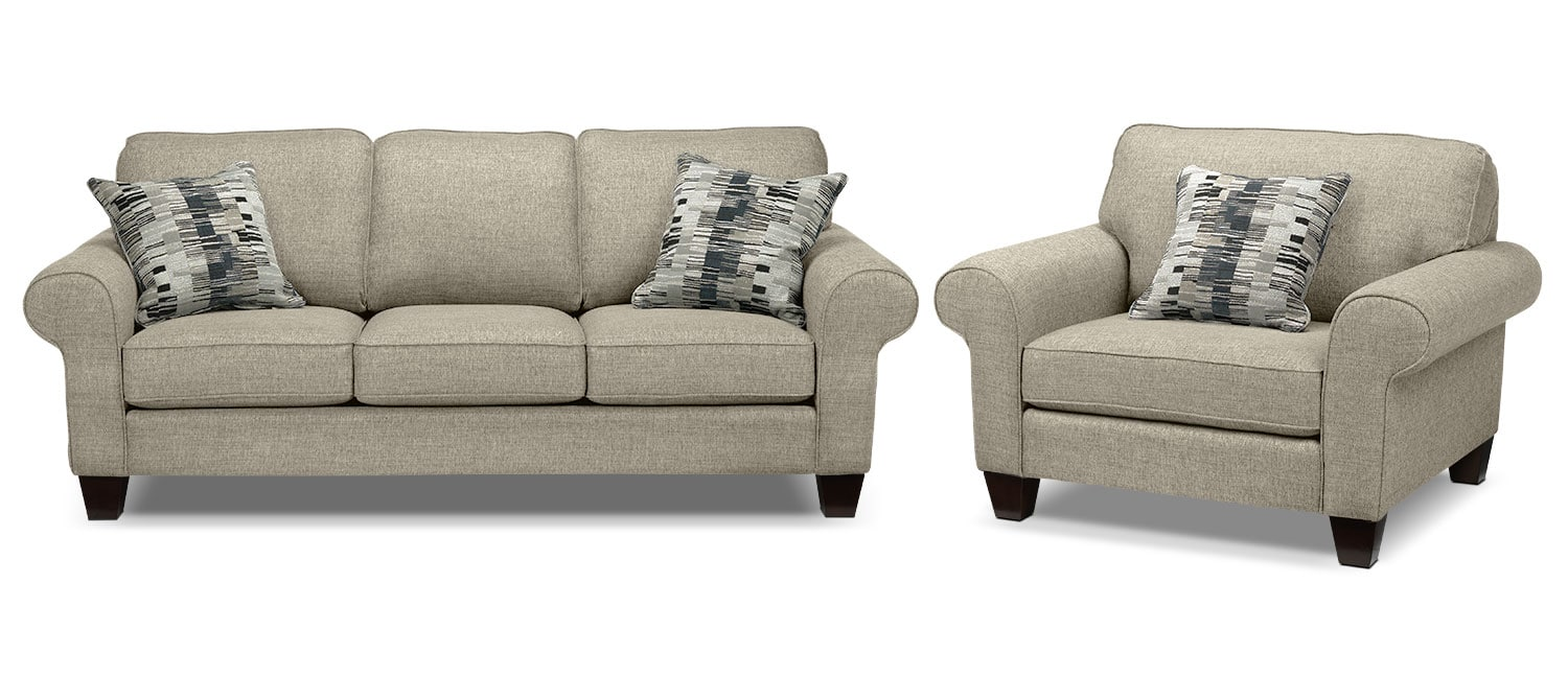 Drake Sofa and Chair Set - Taupe