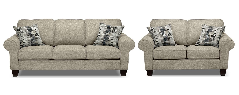 Drake Sofa and Loveseat Set - Taupe