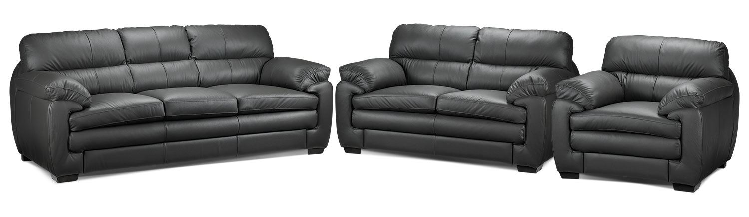Cambria Sofa, Loveseat and Chair Set - Grey