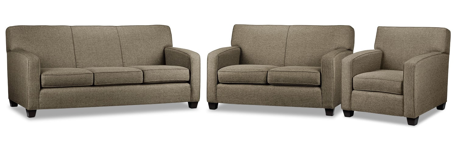 Falcon Wood Sofa, Loveseat and Chair Set - Beige