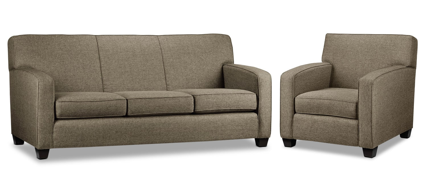 Falcon Wood Sofa and Chair Set - Beige