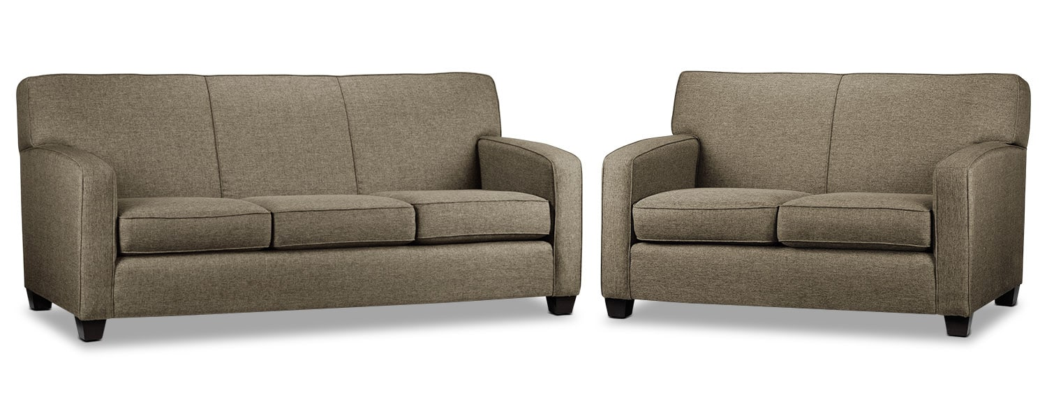 Falcon Wood Sofa and Loveseat Set - Beige