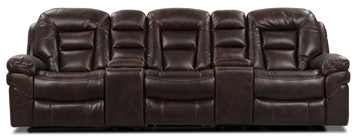Living Room Furniture - Leo Leath-Aire® Fabric 5-Piece Reclining Home Theatre Sectional – Walnut