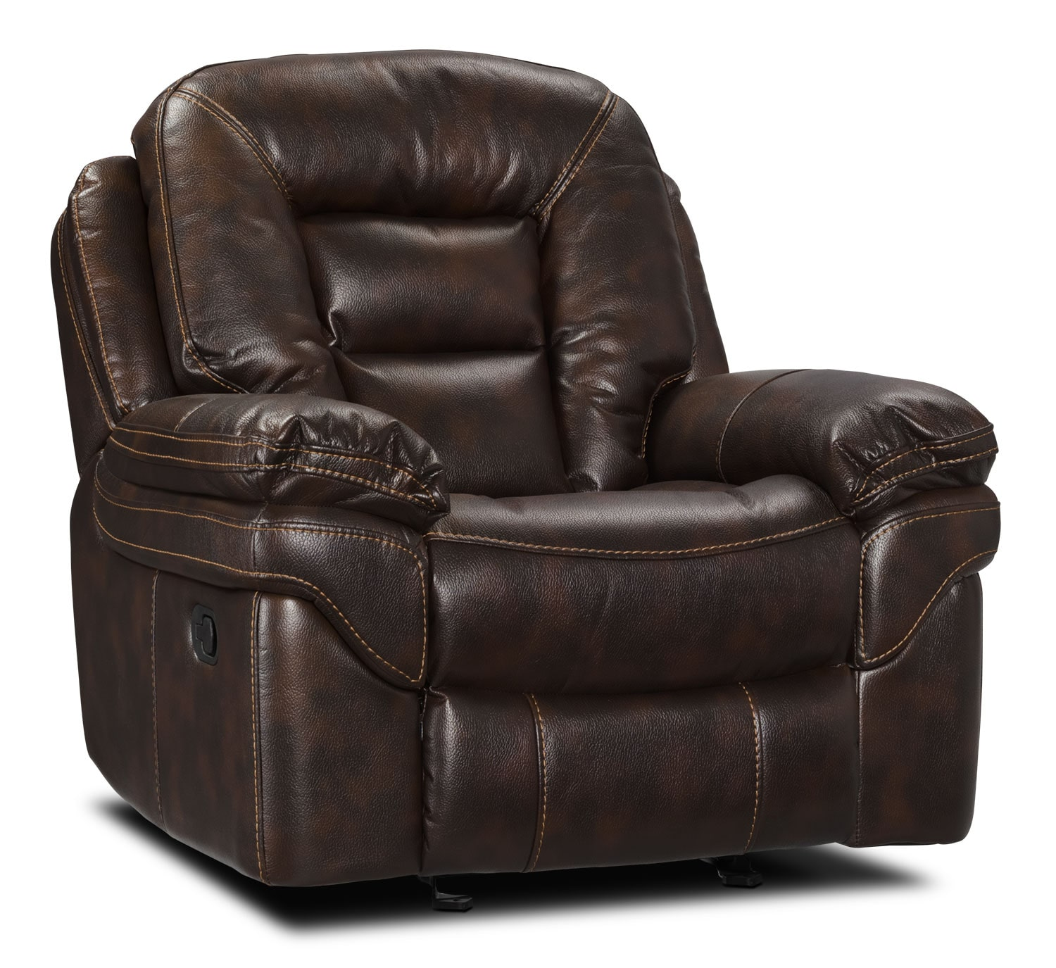 Living Room Furniture - Leo Leathaire Recliner - Walnut