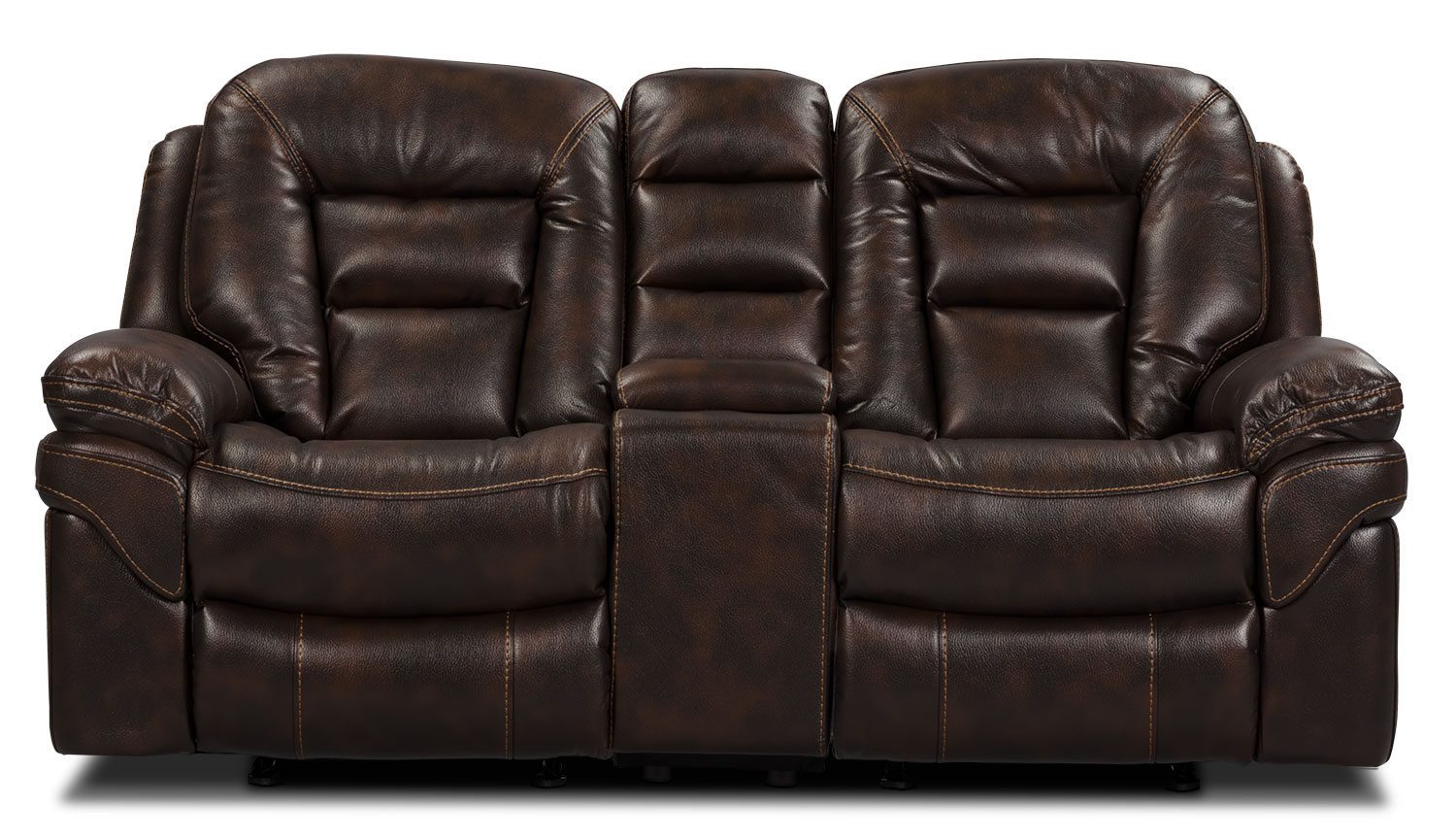 Living Room Furniture - Leo Leathaire Reclining Loveseat - Walnut