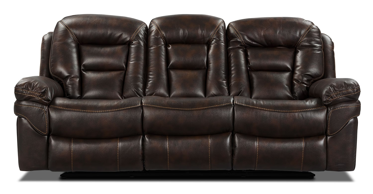 Living Room Furniture - Leo Leath-Aire® Fabric Power Reclining Sofa – Walnut