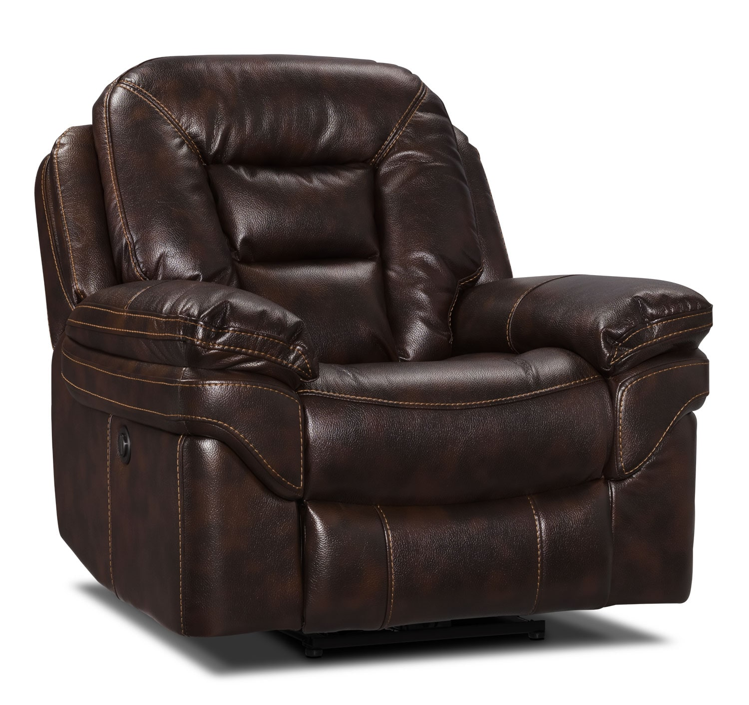 Living Room Furniture - Leo Leath-Aire® Fabric Power Reclining Chair – Walnut