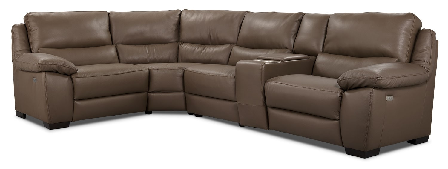Living Room Furniture - Chaz Genuine Leather 5-Piece Sectional – Dark Taupe