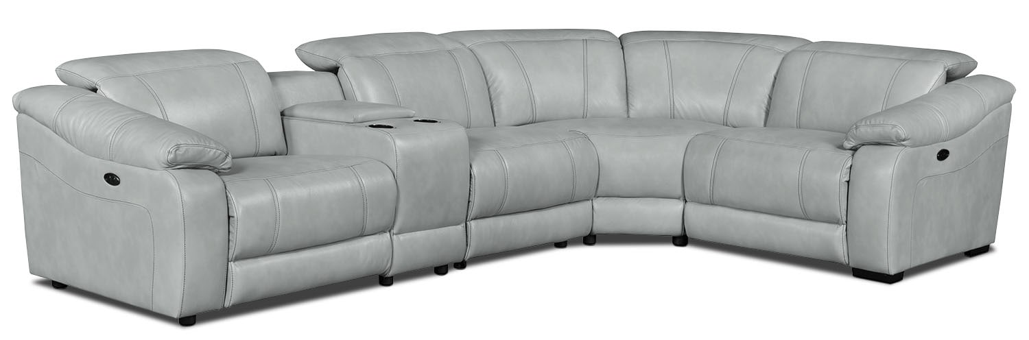 Living Room Furniture - Bruno 5-Piece Leather-Look Fabric Power Reclining Sectional – Grey