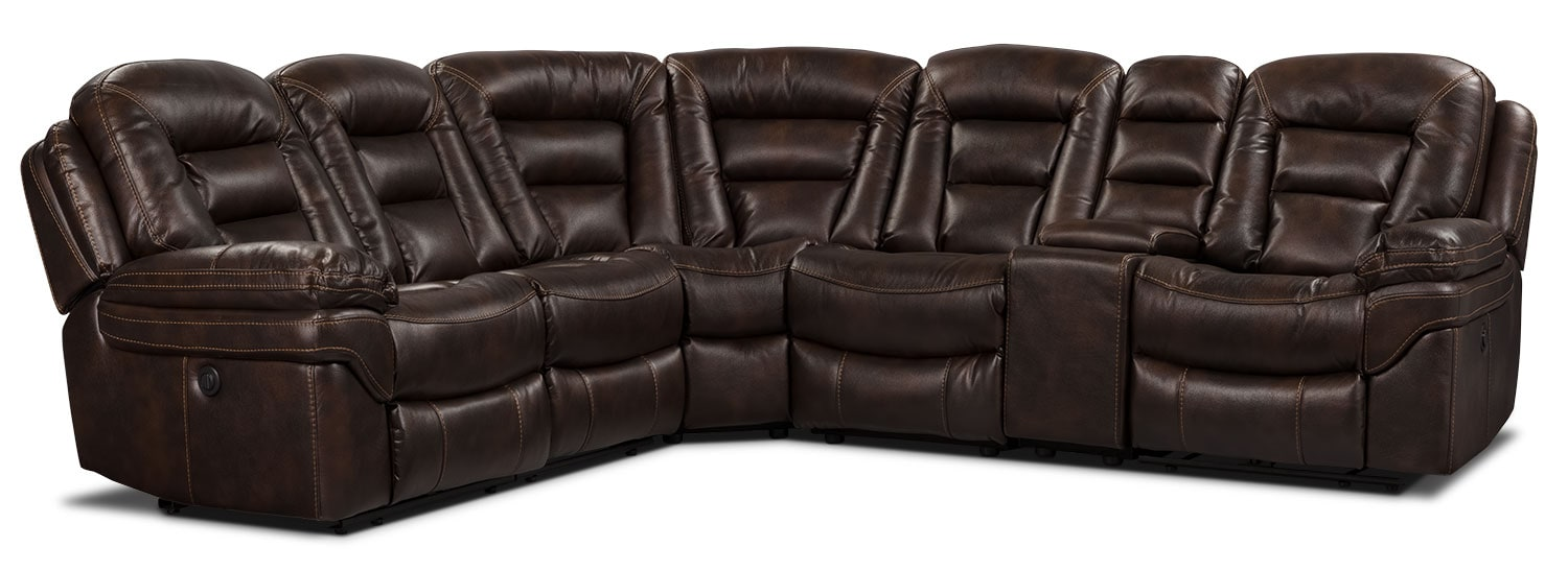 Living Room Furniture - Leo Leath-Aire® Fabric 6-Piece Power Reclining Sectional – Walnut