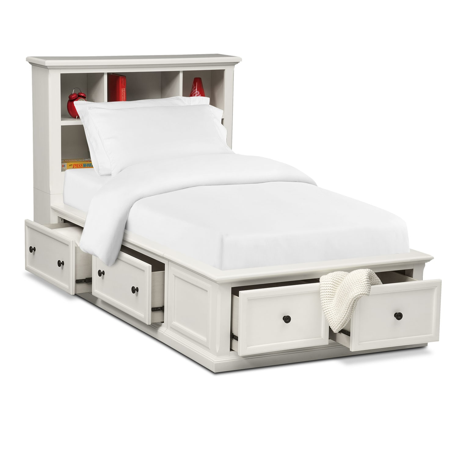 Hanover Youth Full Bookcase Bed With Storage White American Signature Furniture