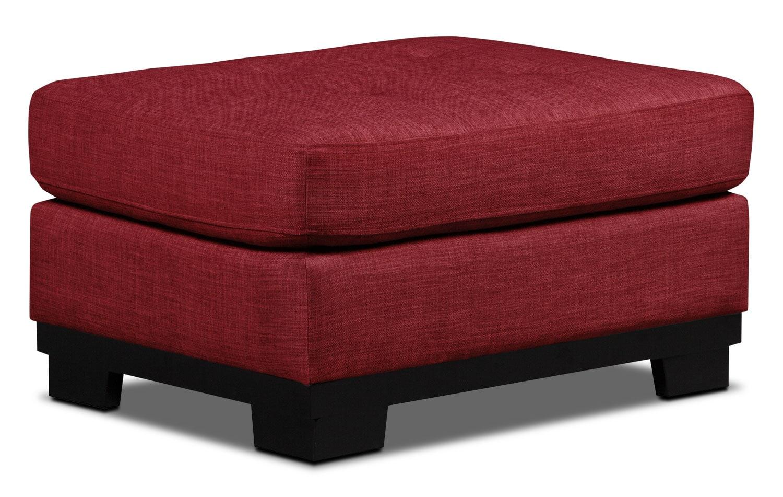 Living Room Furniture - Oakdale Linen-Look Fabric Ottoman – Cherry
