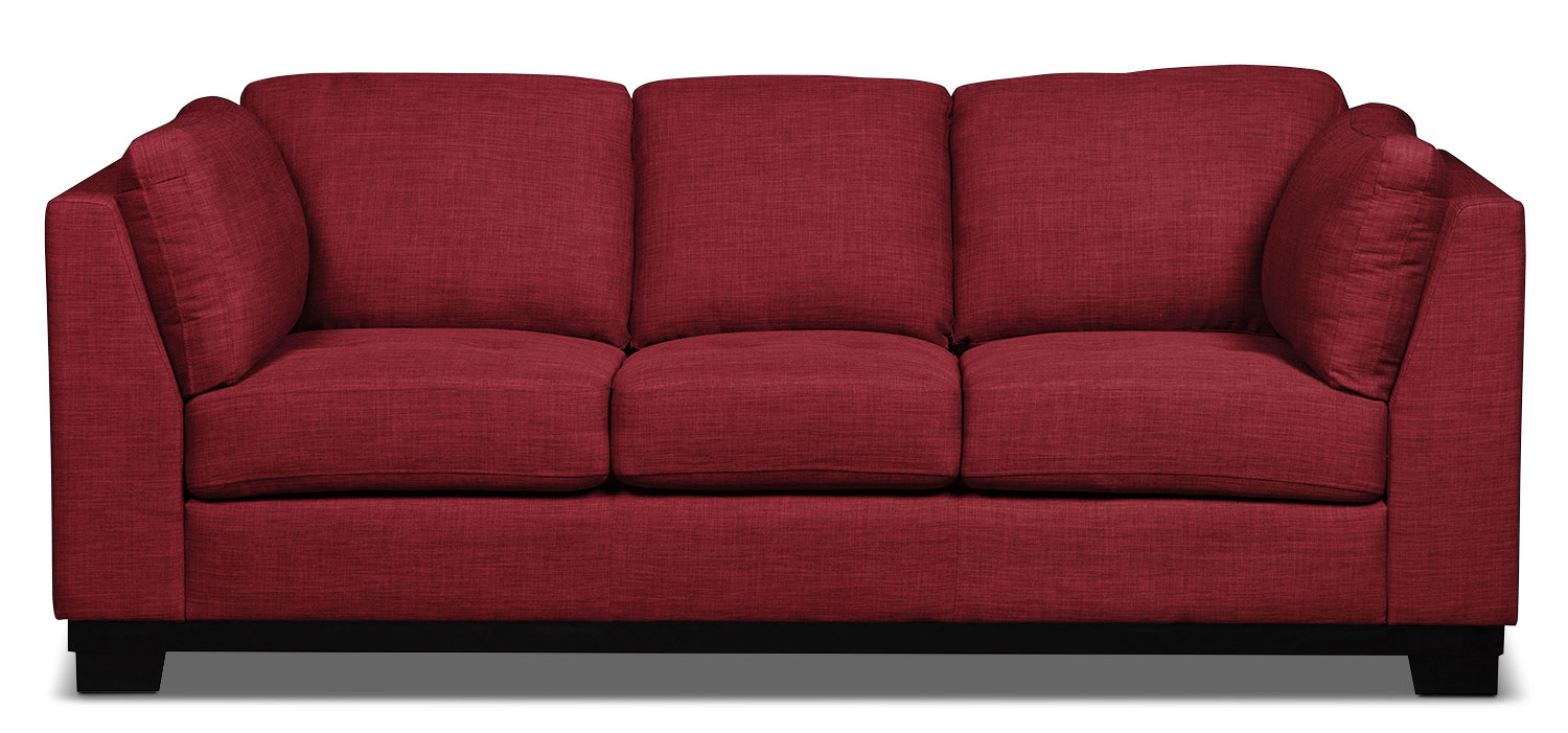 Oakdale Linen-Look Fabric Sofa – Cherry