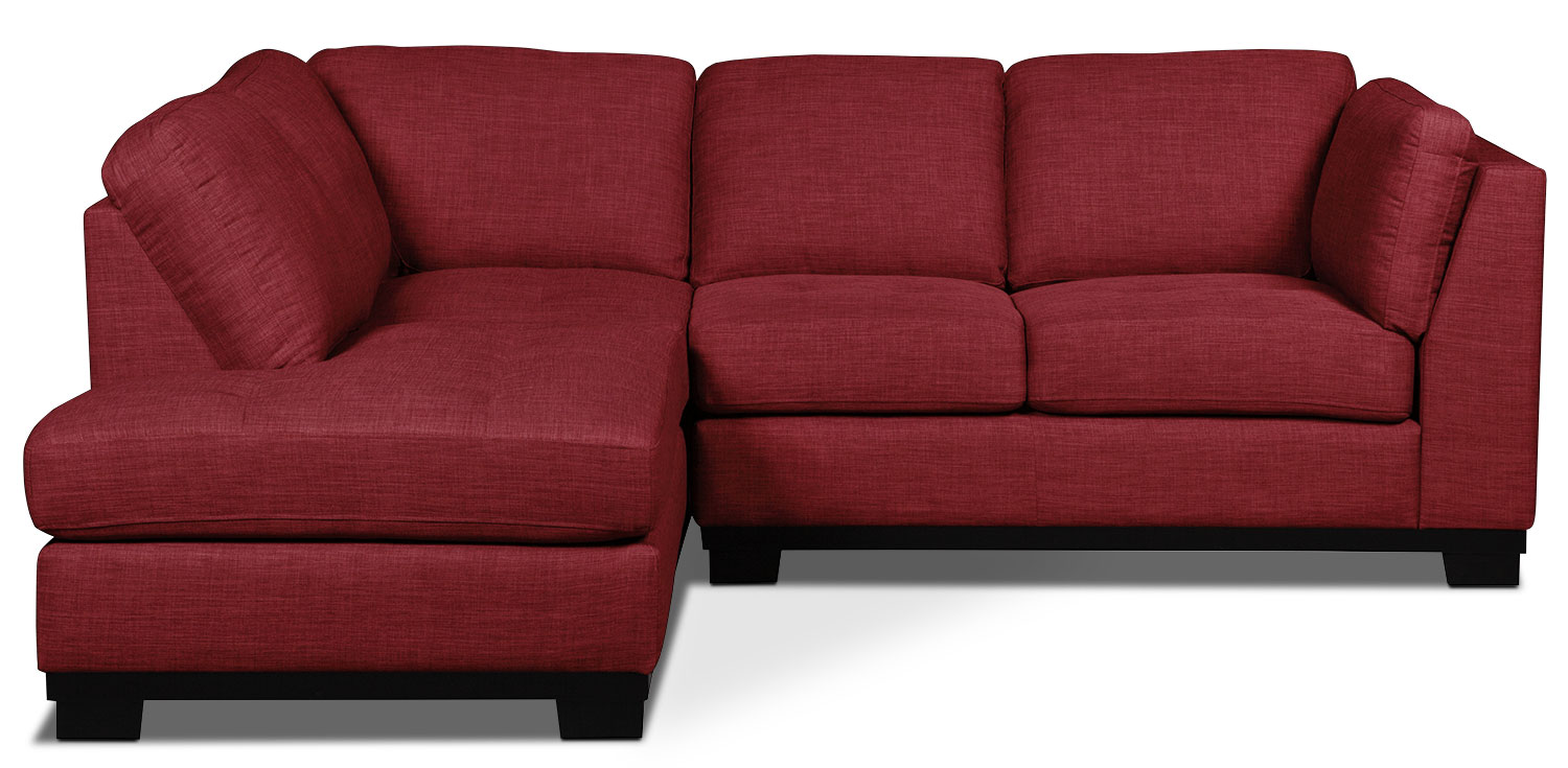 Oakdale 2-Piece Linen-Look Fabric Left-Facing Sectional – Cherry