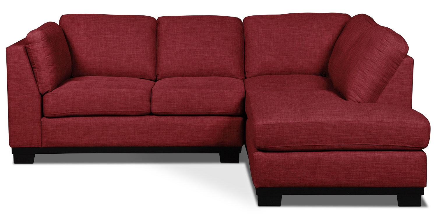 Oakdale 2-Piece Linen-Look Fabric Right-Facing Sectional – Cherry