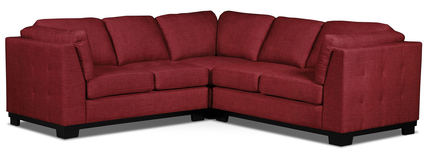 Living Room Furniture - Oakdale 3-Piece Linen-Look Fabric Living Room Sectional – Cherry