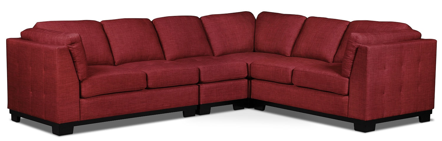 Oakdale 4-Piece Linen-Look Fabric Living Room Sectional – Cherry