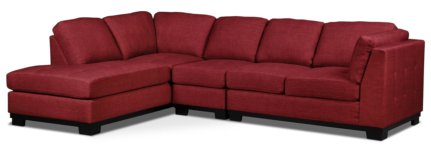 Oakdale 3-Piece Linen-Look Fabric Left-Facing Sectional – Cherry