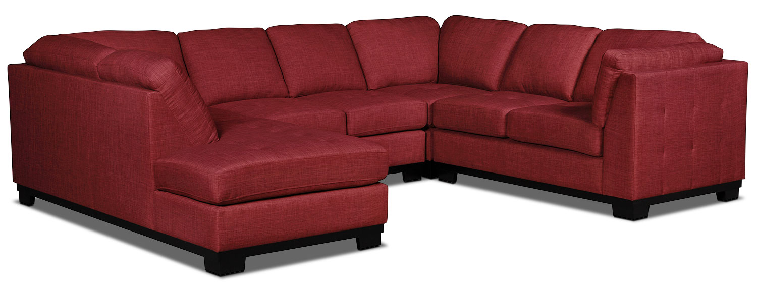 Living Room Furniture - Oakdale 4-Piece Linen-Look Fabric Left-Facing Sectional – Cherry