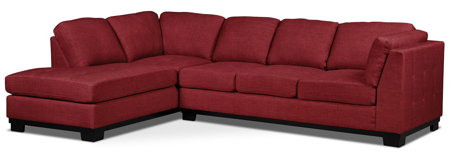 Oakdale 2 piece linen look fabric left facing sectional for Sectional sofa bed brick