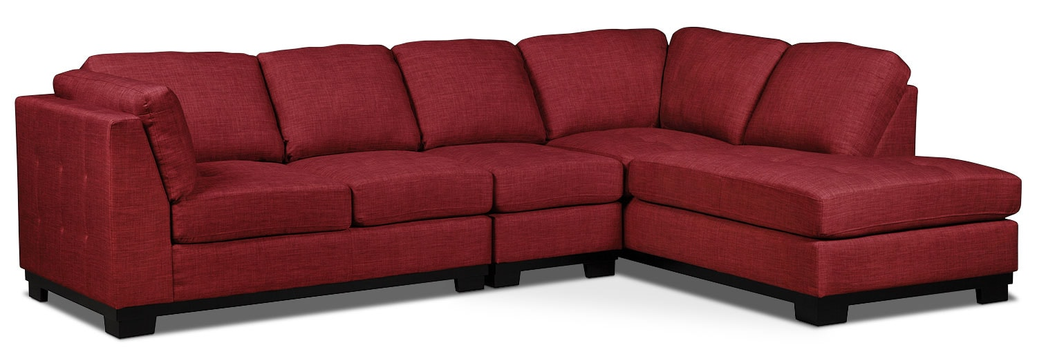 Oakdale 3-Piece Linen-Look Fabric Right-Facing Sectional – Cherry