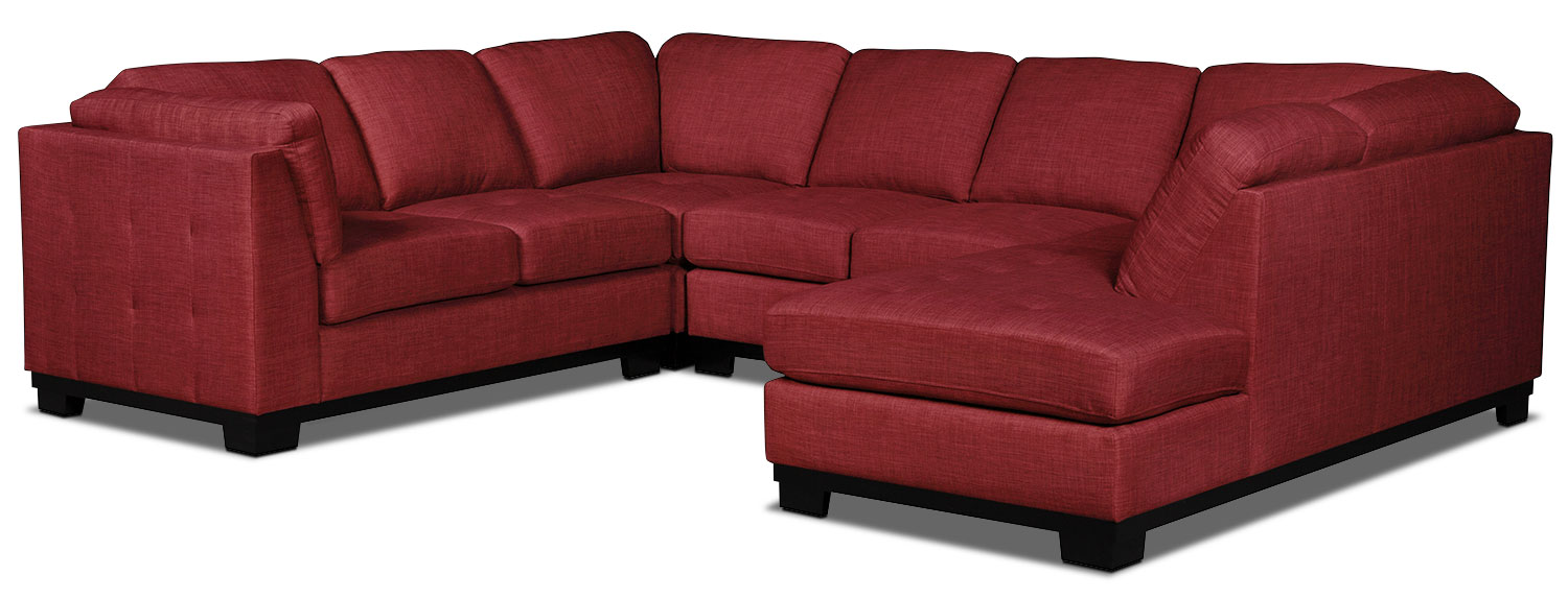 Oakdale 4-Piece Linen-Look Fabric Right-Facing Sectional – Cherry