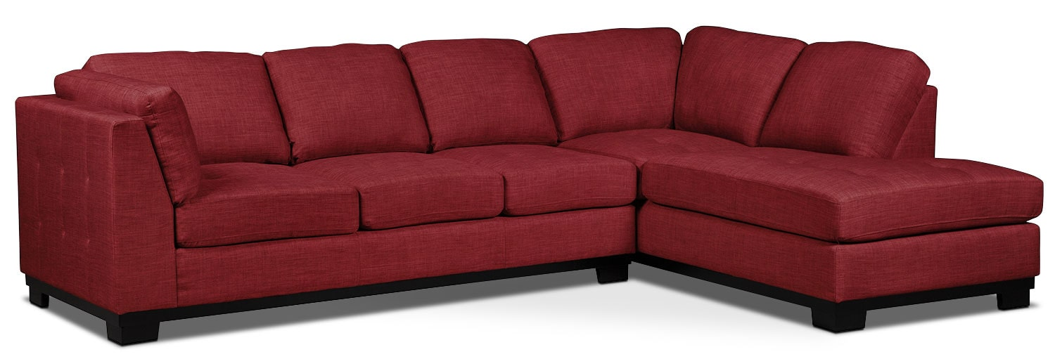 Oakdale 2 piece linen look fabric right facing sectional for Sectional sofa bed brick