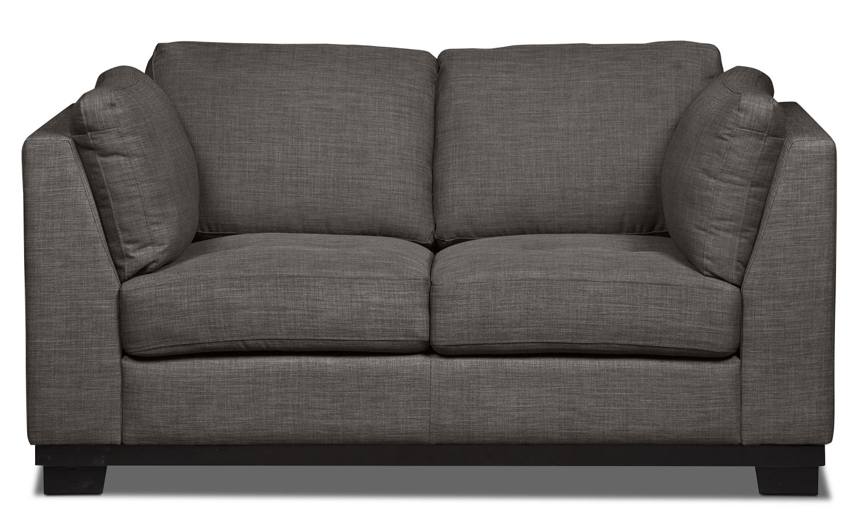 Living Room Furniture - Oakdale Linen-Look Fabric Loveseat – Platinum